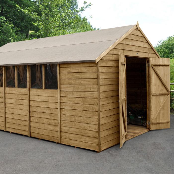 Image of Hartwood 10' x 15' Double Door Overlap Pressure Treated Apex Workshop