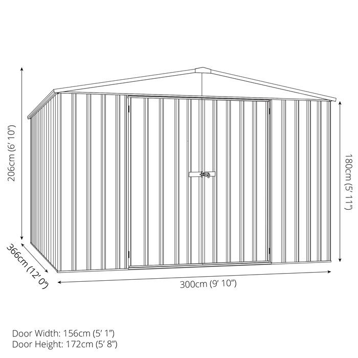 Adley 10' x 12' Double Door Grey Titanium Apex Metal Shed