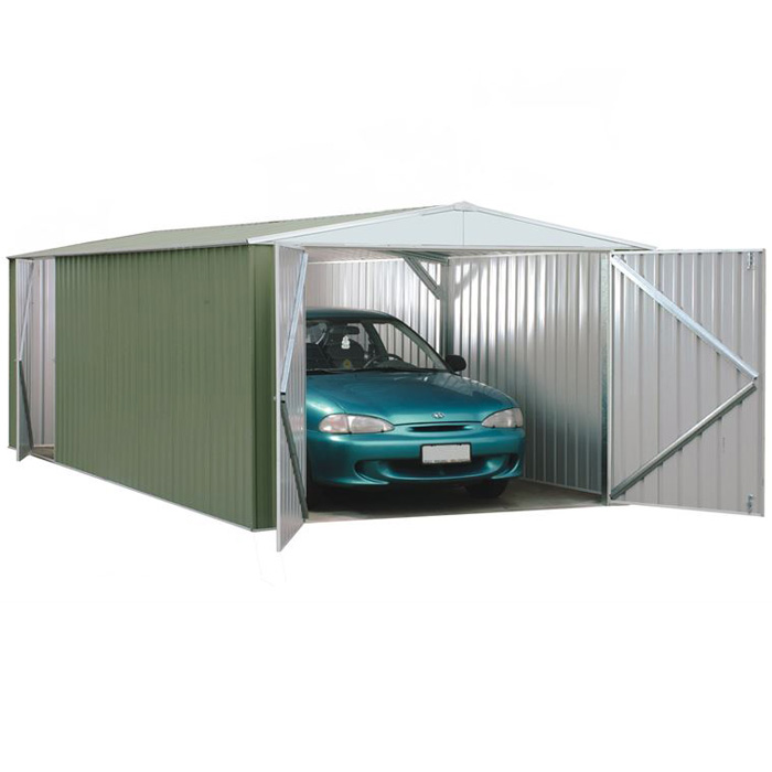 Image of Adley 10' x 20' Double Door Green Titanium Apex Metal Garage