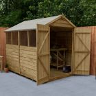 Hartwood 8' x 6' Overlap Pressure Treated Apex Shed With Extra Windows