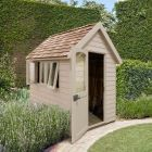Hartwood 5' x 8' Painted Deluxe Redwood Overlap Apex Retreat Shed - Natural Cream