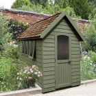 Hartwood 5' x 8' Painted Deluxe Redwood Overlap Apex Retreat Shed - Moss Green