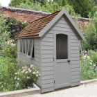 Hartwood 5' x 8' Painted Deluxe Redwood Overlap Apex Retreat Shed - Pebble Grey