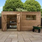 Adley 14' x 6' Pressure Treated Double Door Shiplap Pent Shed