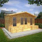 Adley 5m x 3m Lincoln Log Cabin with Veranda