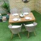 Oren Cali 4 Seater Rectangular Rattan Dining Set