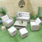Oren Darwin 6 Seater Rattan Sofa Set