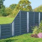 Rowlinson 6' x 3' Horizontal Hit & Miss Fence Panel With Opaque Insert - Close Boarded