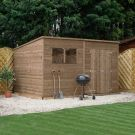 Adley 12' x 8' Pressure Treated Double Door Shiplap Pent Shed