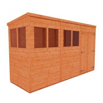 Redlands 4' x 12' Double Door Shiplap Modular Pent Shed