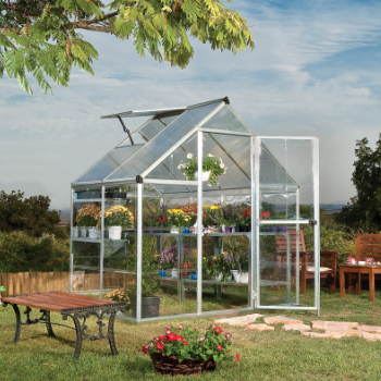 Palram - Canopia 6' x 4' Nature Hybrid Silver Polycarbonate Greenhouse