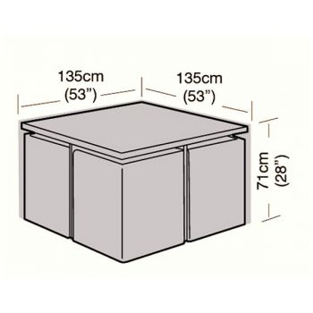 Cover Up - 4 Seater Rattan Cube Set Cover - Large - 135cm