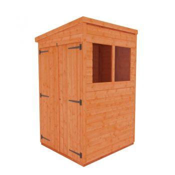 Redlands 4' x 4' Double Door Shiplap Modular Pent Shed