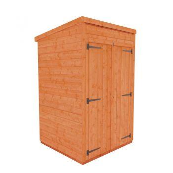 Redlands 4' x 4' Double Door Windowless Shiplap Modular Pent Shed