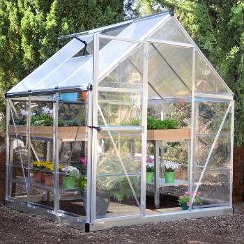 Palram - Canopia 6' x 6' Nature Hybrid Silver Polycarbonate Greenhouse