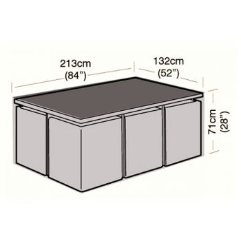 Cover Up - 6 Seater Rectangular Rattan Cube Set Cover - 135cm
