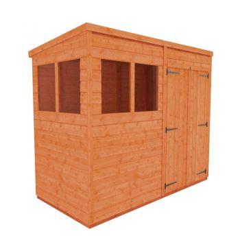 Redlands 4' x 8' Double Door Shiplap Modular Pent Shed