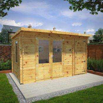 Adley 4.1m x 2.5m Pent Home Office Log Cabin With Side Shed