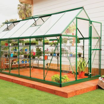 Palram 6' x 14' Nature Hybrid Green Polycarbonate Greenhouse