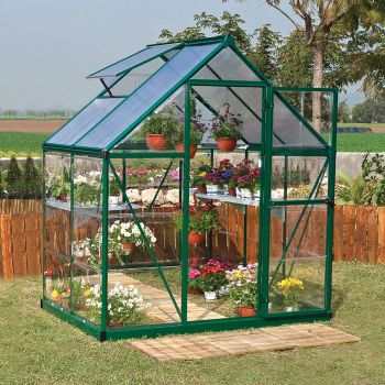 Palram - Canopia 6' x 4' Nature Hybrid Green Polycarbonate Greenhouse