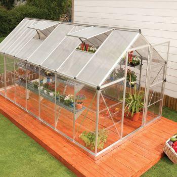 Palram 6' x 14' Nature Hybrid Silver Polycarbonate Greenhouse