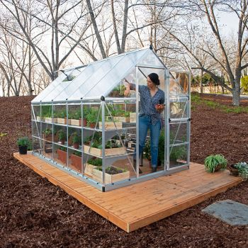 Palram - Canopia 6' x 10' Nature Hybrid Silver Polycarbonate Greenhouse