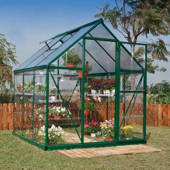 Palram - Canopia 6' x 6' Nature Hybrid Green Polycarbonate Greenhouse