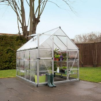 Palram - Canopia 6' x 8' Nature Hybrid Silver Polycarbonate Greenhouse