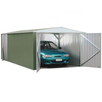 Adley 10' x 20' Double Door Green Titanium Apex Metal Garage