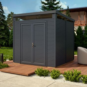 Rowlinson 8' x 8' Pent Security Shed - Anthracite