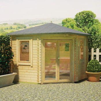 Redlands 3m x 3m Sunningdale Corner Log Cabin