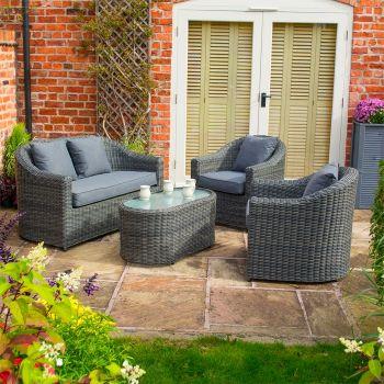 Rowlinson Bunbury Rattan Sofa Set - Grey Weave
