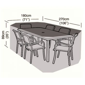 Cover Up - 6 Seater Rectangular Patio Set Cover - 270cm