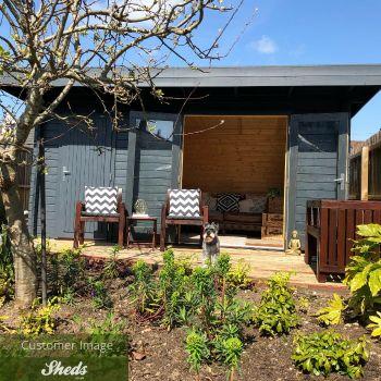 Greenway 4.5m x 3m Alder Log Cabin With Storage Shed