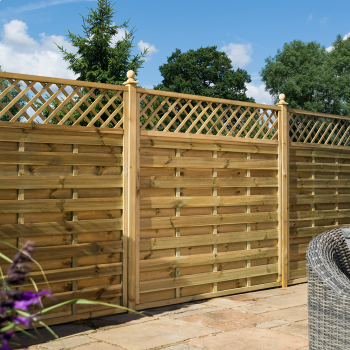 Rowlinson 6' x 6' Horizontal Weave Fence Panel With Trellis Top