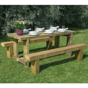 Hartwood 1.8m Refectory Table & Sleeper Bench Set