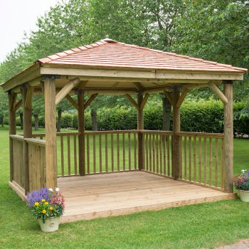 Hartwood 3.5m Premium Square Gazebo With Cedar Roof & Base
