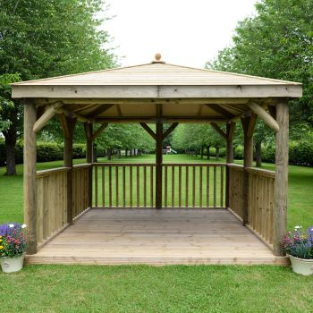 Hartwood 3.5m Premium Square Gazebo With Timber Roof & Base
