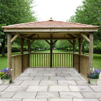 Hartwood 3.5m Premium Square Gazebo With Cedar Roof