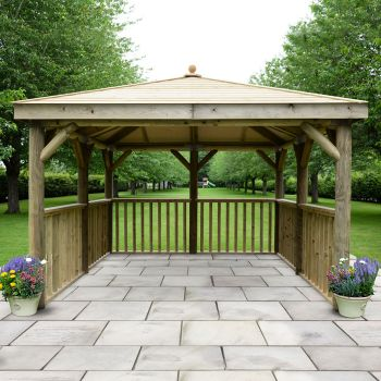 Hartwood 3.5m Premium Square Gazebo With Timber Roof