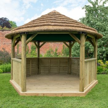 Hartwood 4m Premium Hexagonal Gazebo With Country Thatch Roof