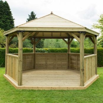 Hartwood 4.7m Premium Hexagonal Gazebo With Timber Roof