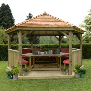 Hartwood 4.7m Fully Furnished Premium Hexagonal Gazebo With Cedar Roof
