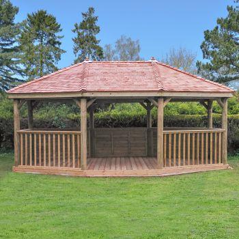 Hartwood 6m Premium Oval Gazebo With Cedar Roof