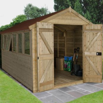 Hartwood 8' x 12' Double Door Premium Tongue & Groove Pressure Treated Apex Shed