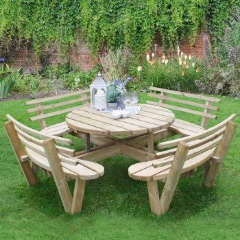 Hartwood Circular Picnic Table With Seat Backs