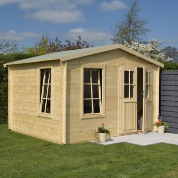 Rowlinson 3.4m x 3.0m Garden Retreat Log Cabin