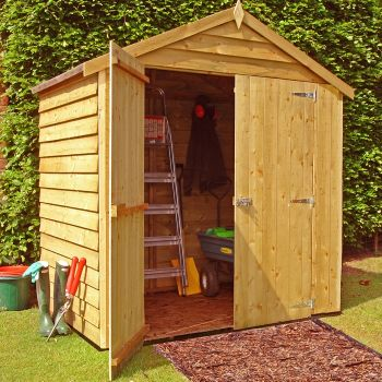 Loxley 6' x 4' Windowless Double Door Overlap Apex Shed