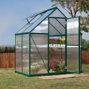 Palram - Canopia 6' x 4' Mythos Green Polycarbonate Greenhouse