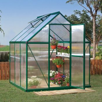 Palram 6' x 6' Mythos Green Polycarbonate Greenhouse